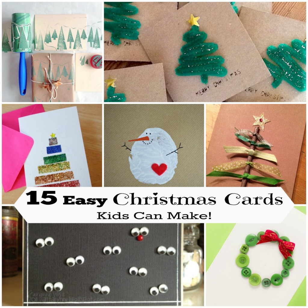 15 diy christmas cards kids can make letters from santa for Easy diy christmas cards