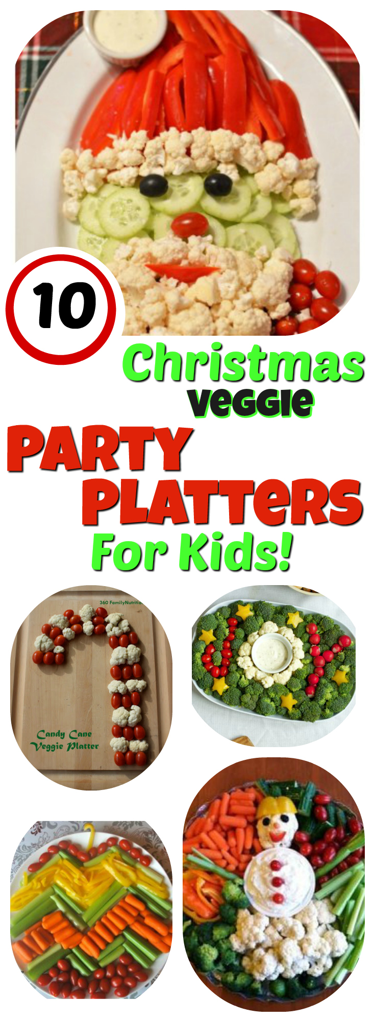 Veggie Platters For Kids: 10 Christmas Party Trays