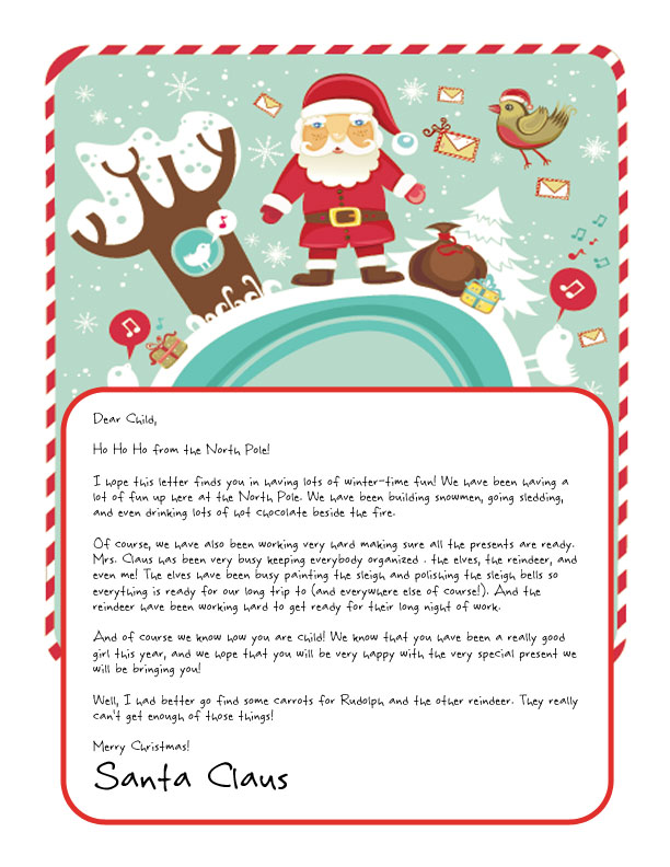 letter from santa showing santa at the north pole with christmas letters and singing birds