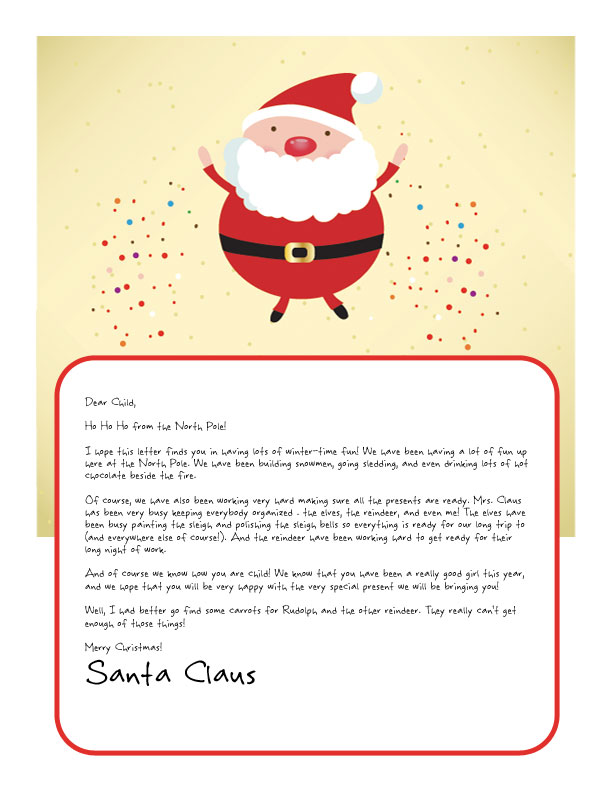 Easy free letters from santa customize your text and design and sparkly santa dancing on the top of a letter from santa printable template spiritdancerdesigns Images