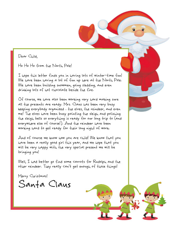 santa and his elves are waving and holding the personalized text on this santa letter