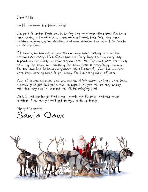 letter from santa template featuring the real santa and his reindeer herd at the north pole