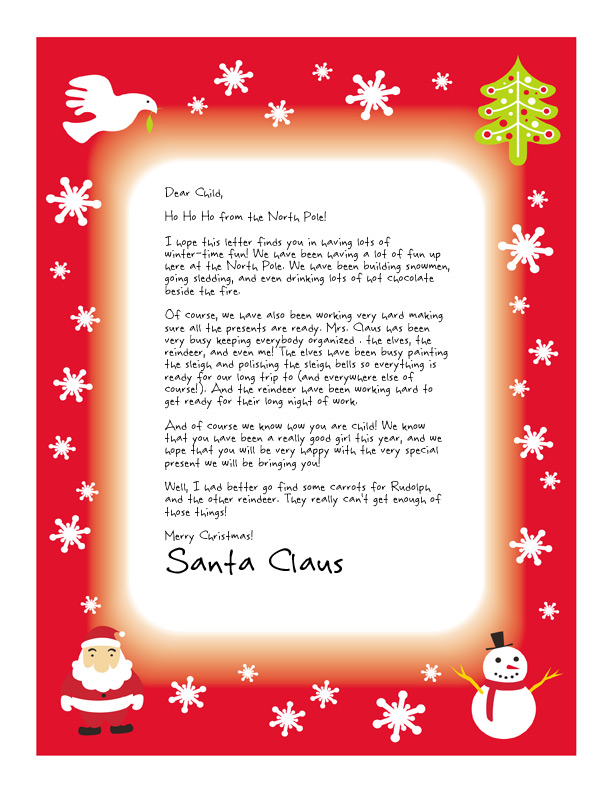 letter from santa for kids featuring a bright red border with santa christmas tree