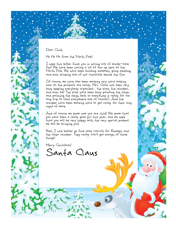 letter from santa with santa and rudolph the red nosed reindeer on a thick blue