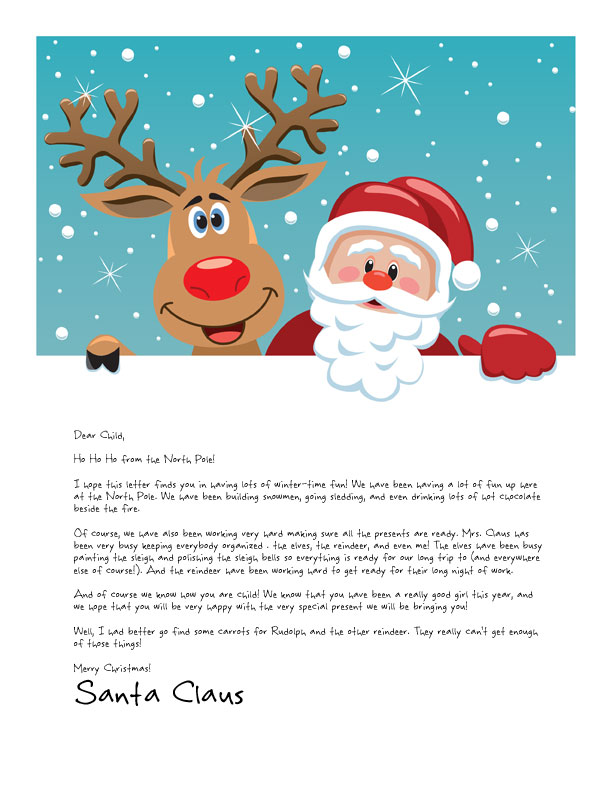 santa letter template with santa and rudolph hugging and smiling out at children on a snowy