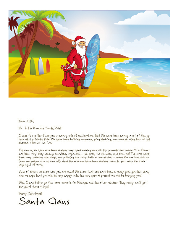 a printable letter from santa tropical template design featuring santa with a surfboard on a beach