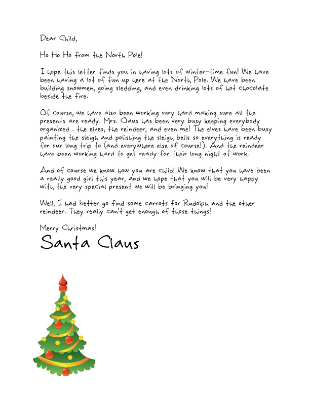 Easy free letters from santa customize your text and design and free santa letters template with a little christmas tree spiritdancerdesigns