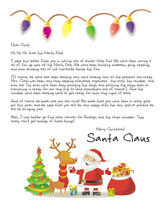 Easy free letters from santa customize your text and design and santa and rudolph under the christmas lights is featured on a letter from santa template spiritdancerdesigns