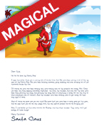 A Printable Letter From Santa Tropical Template Design Featuring With Surfboard On Beach