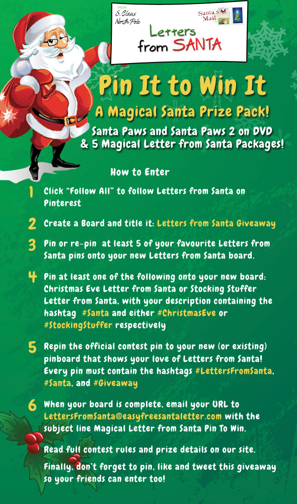 Easy Free Letters from Santa | Pin It to Win It | We believe in the