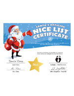 naughty or nice certificate from Santa Claus